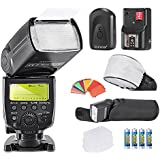 Neewer® Meike MK600 E-TLL/E-TTLII High Speed Sync 1/8000s HSS LCD Display Speedlite Master/Slave Flash Kit for Canon Digital SLR Cameras, such as EOS 5D Mark III, II, 1Ds Mark 6D, 5D, 7D, 60D, 50D, 40D, 30D, 300D, 100D, 350D, 400D, 450D, 500D, 550D, 600D, 650D/EOS Digital Rebel, SL1, XT, Xti, Xsi, T1i, T2i, T3i, T4i,Includes(1)MK600 Flash+(1)Universal Mini Flash Bounce Diffuser Cap+(1)35-piece Color Gel Filters+(1)Flash Diffuser+(1)16 Channels Wireless Remote Flash Trigger+(4)LR Battery