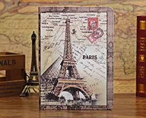 Termichy Retro Classic European Book style London Bridge, Eiffel Tower , Bigben,UK Flag,Union Jack, USA Flag, PU Leather Flip Folio Case Cover with Stand ,Sleep Function For the New iPad Air ,iPad 5 (Eiffel Tower) by Termichy [並行輸入品]
