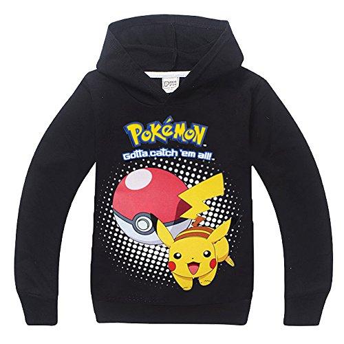 Pokemon maglia a maniche lunghe con cappuccio nero 110 cm