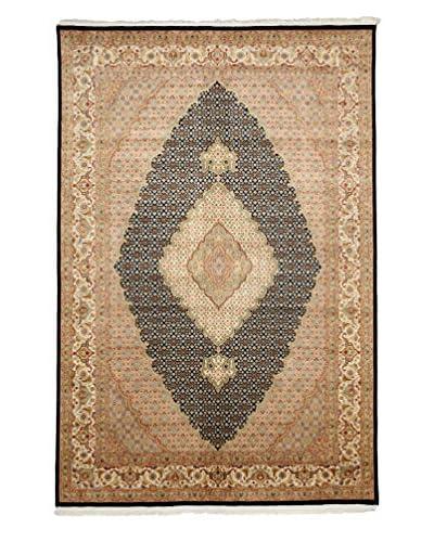Darya Rugs Traditional Oriental Rug, Navy/Sand, 6' 8 x 9' 10
