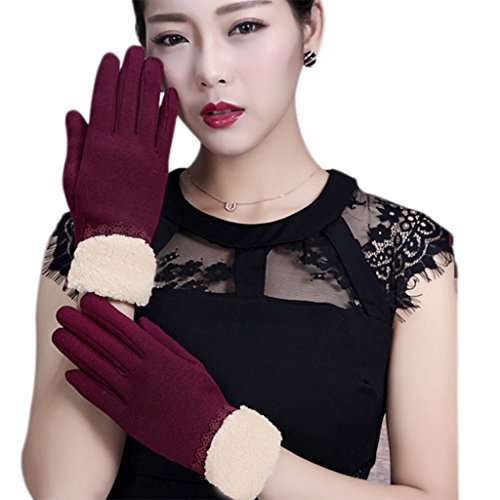 Elegant Touchscreen Texting iPhone Gloves Touch Screen Warm Fleece Lined Gloves Winter Windproof Thick Warmer Cold Weather Thermal Cycling Driving Gloves Mittens for Women Ladies Christmas Gifts