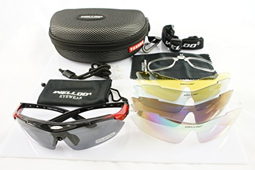 Red & Black Frame Outdoor Hunting Golf Fishing Hiking Sport Riding Skiing Uv400 Polarized Sunglasses Glasses 5 Lenses Case+Led Light