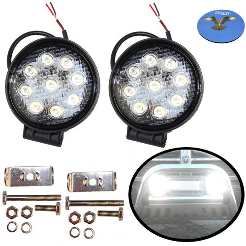 Hqrp 2-Pack High Power 27W Watt Round Waterproof Led Flood Work Light Lamp For Truck, Trailer Interior & Exterior Lighting / Garden, Backyard Lighting Plus Coaster
