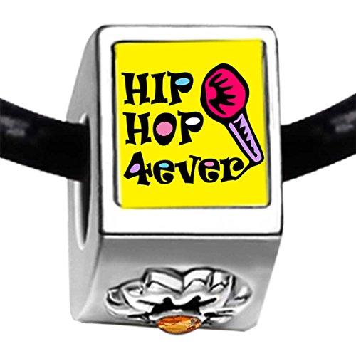 Music Hip Hop Forever Photo Topaz Crystal November Birthstone Flower Bead Charm Bracelets