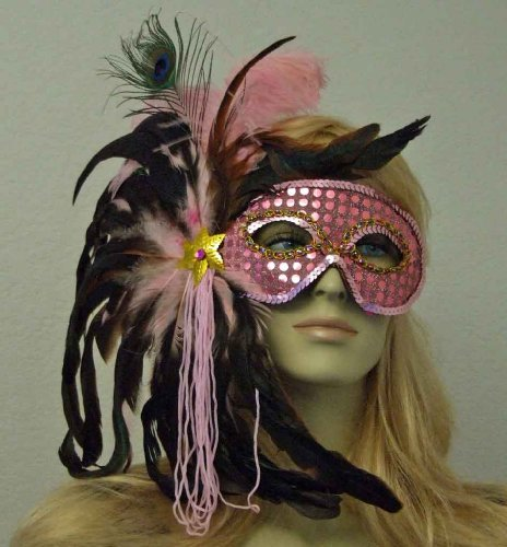 Pretty In Pink Sequin Feather Mask Mardi Gras Halloween Costume