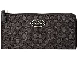 Coach Signature Slim Zip Wallet 52570,Black Smoke/Black