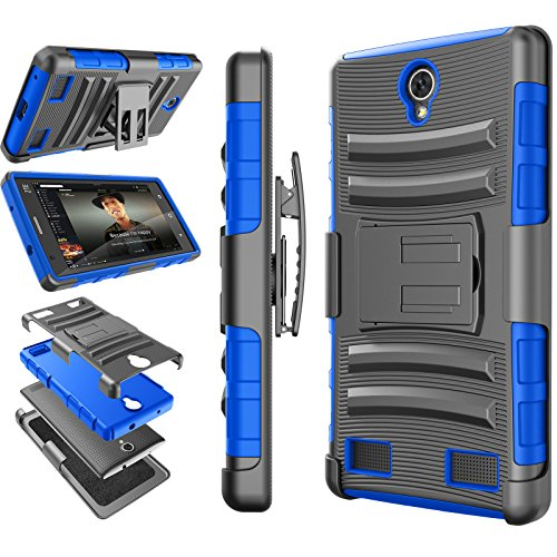 ZTE ZMAX 2 Case, ZTE Z MAX 2 Case, Tekcoo [Hoplite Series] [Blue] Shock Absorbing Holster Locking Belt Clip Defender Heavy Stand Case Cover For ZTE ZMAX 2 / Z958 / Z955L Released On 2015 AT&T (Zte Zmax Phone Case T Mobile compare prices)