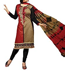 Rudra house Women's chanderi cotton unstitched dress material(PKR-1002 red cream and black free size)