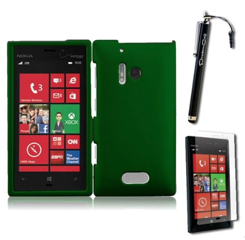 """Miniturtle Nokia Lumia 928 (Verizon) """"The Windows Phone"""" Smooth, Sleek, Stylus, And Slim Solid Snap On Protector Case Cover With Bonus Screen Protective Film And Stylus Pen (Dark Green) front-1060216"""