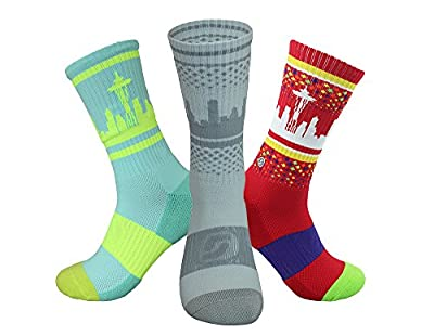 Skyline Socks Men's Seattle Skyline Crew Socks Triple Pack