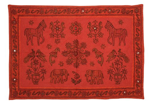 Imagen 2 de Caballo indio Elefante bordado y aves Tapiz Cuadro colgante de pared Throw Fabricado por Cotton Size Tela 35 X 22 pulgadas