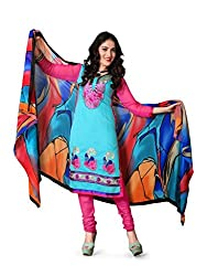 krizel Jasmine Turquoise Chanderi Unstitched Straight Salwar Suit Dress Material