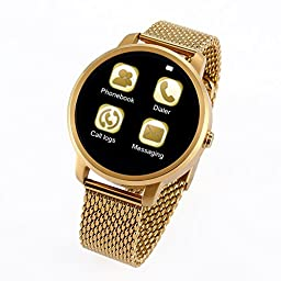 Morjava® V360 Men Women Fashion Sport Bluetooth Smart Watch SMS Notification Phone Calls Music Camera Remote Control Pedometer -Gold