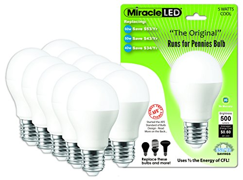 Miracle Led 604711 5-Watt Runs For Pennies Bulb, 60 Watt Replacement, Perfect A19 Household Replacement Light, Cool White, 10-Pack