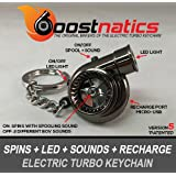 Boostnatics Rechargeable Electric Electronic Turbo Keychain with Sounds + LED! - Black NEW Version 5 (V5)