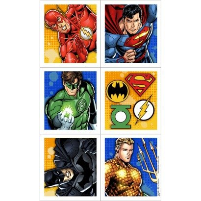 Justice League Party Favor Stickers -1 Package with 4 Sheets
