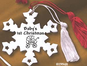 Metal Snowflake Ornament, 2010 Baby's 1st Christmas with Stroller