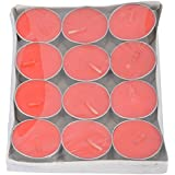 Vansh Sales Aluminum Scented Decorative Tealight Candles - Pack Of 12 (4 Cm X 4 Cm X 1 Cm, Red)