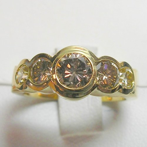 14K Yellow Gold Natural Champagne Diamond Ring