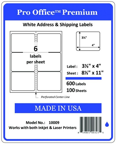 Pro Office Premium 600 Self Adhesive Shipping Labels for Laser Printers and Ink Jet Printers, White, Made in USA, 3.33 x 4 Inches, Pack of 600, Same Size As Avery 8164 and More
