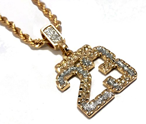18k Gold Plated & Iced Out Number 23 Pendant Hip Hop Necklace (Gold Number Necklace Pendant compare prices)