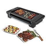 Excelvan Elektro-Tischgrill BBQ Barbecue-Elektrogrill mit gerippter Grillfläche 1400W Schwarz