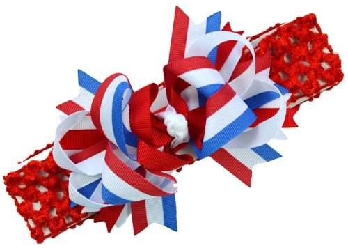 "4Th Of July Bow Baby Headband (1.5"" Crochet Headband (Newborn - 5 Years), Red Band)"