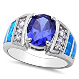 Simulated Tanzanite, Lab Created Blue Opal, & Cz .925 Sterling Silver Ring SIZES 6-10