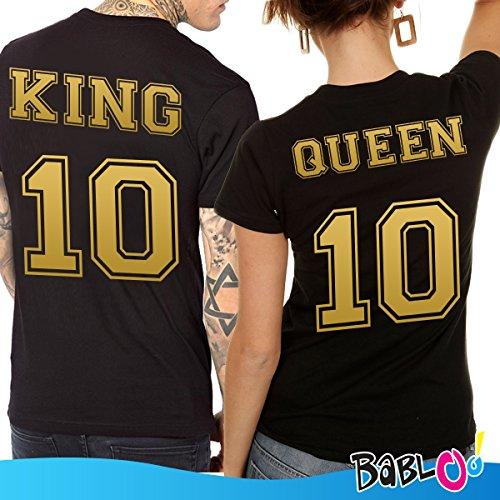 Coppia di T Shirt Con Numeri Dorati King And Queen Nere Uomo L Donna XS