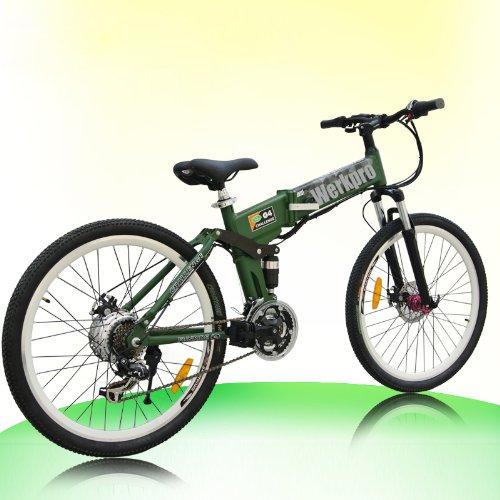 """ebike 26"""" Zoll Mountainbike Faltrad Klapprad Elektro Batterie Pedelec 21 gang (Grün)"""