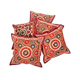 Rajrang Traditional Mirror Embroidred Cotton Cushion Cover 16 By 16 Inches Set 5 Pcs