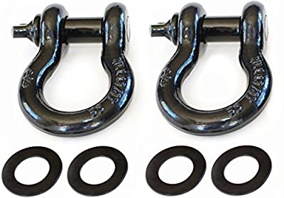 "2 Pack - 3/4"" D-Ring Bow Shackles with Isolator Rings - 4 3/4 tons WLL (9,500 Lbs) Capacity - Heavy Duty D Ring for winching, ridging and recovery"