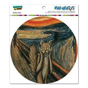 The Scream Cat Parody - Edvard Munch Circle MAG-NEATO'STM Automotive Car Refrigerator Locker Vinyl Magnet