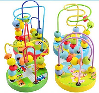 Colorful Baby Children Wooden Toy Mini Around Beads Wire Maze Educational Game