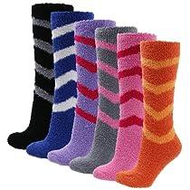 Soft Warm Microfiber Fuzzy Winter Socks Knee High 12pairs(1pack) 6 style Stripe