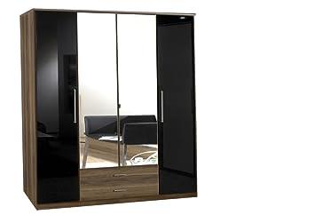 4tur 2Schubladen Qualität–Deutsches Made Kleiderschrank–glänzend schwarz und Walnuss–2Stangen zum Aufhängen–5Böden–2&nbsp
