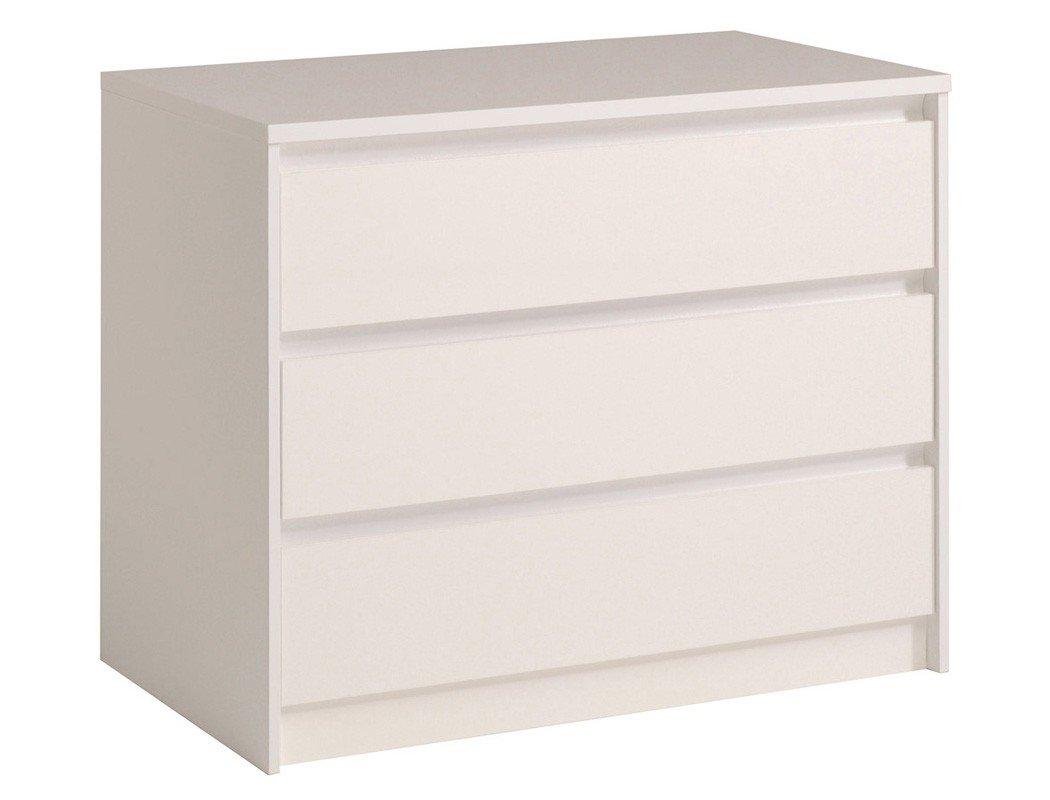 Schubkastenkommode Orell Hochglanz 91x75x50cm Kommode Sideboard Schrank Schlafzimmer Jugendzimmer, Farbe:weiß