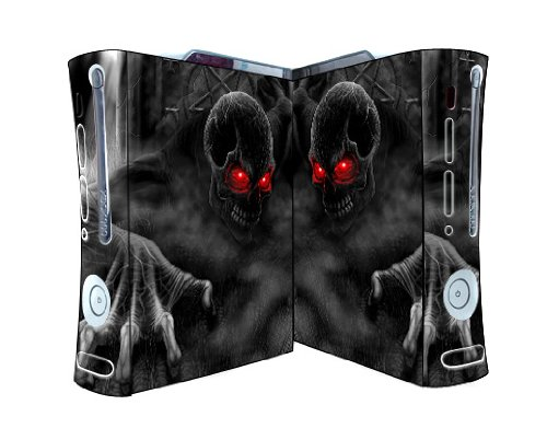 Bundle Monster Vinyl Skins Accessory For Xbox 360 Game Console - Cover Faceplate Protector Sticker Art Decal - Red Eye Skull
