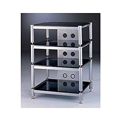 VTI BLG Series 4 Shelf Audio Rack - Black / Black / Clear