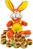 "Candy Lovers Easter Gift Orange Yellow 10"" Plush Bunny Rabbit in Overalls with Reeses Peanut Butter Cup Chocolate Candies"