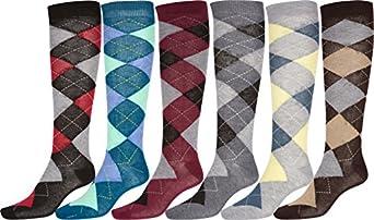 Sakkas 10807-Argyle Ladies Cute Colorful Design or Solid Poly Blend Knee High Socks Assorted 6-Pack - Argyle - 9-11
