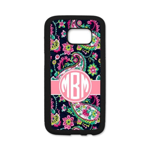 iFUOFF Hot Gift Paisley Bradley Pattern Pink Monogram Initials Cover Case & Dust Plug for - Samsung GALAXY S7