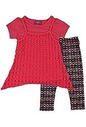 Alfa Global Girl's 2 Piece Shirt Laced Top and Legging Set