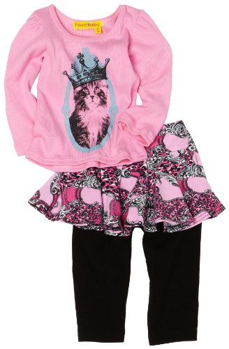 HAVEN BABY Baby-Girls Infant Long Sleeve Puff Tee Set, Patch, 24 Months