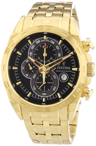 Festina F16656/5 - Reloj cronógrafo de cuarzo para hombre, correa de acero inoxidable chapado color dorado (cronómetro, agujas luminiscentes)