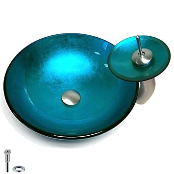 JiaYouJia Blue Round Glass Vessel Sink & Faucet Set
