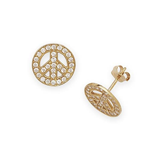 14ct Yellow Gold CZ Medium Peace Sign Fancy Post Earrings - Measures 10x10mm