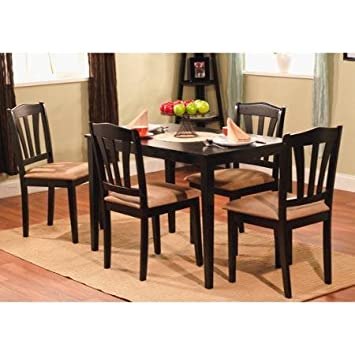 Dining Room Set-5 Piece 4 Person Table and Chairs Black
