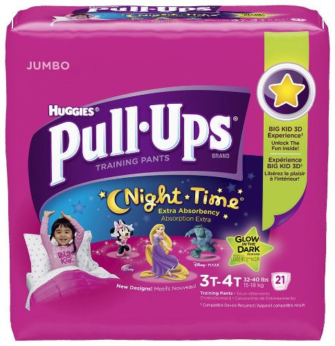 Huggies Girls Pull-Ups Night Time Jumbo Pack 21 Count- 3T-4T - 1