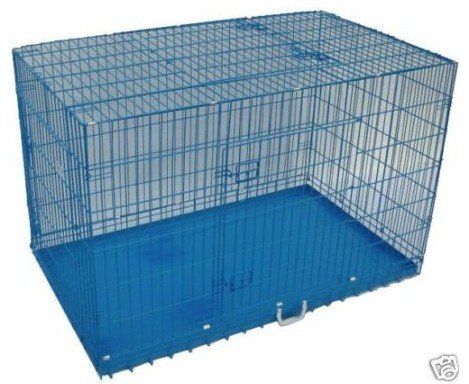 Bestpet 3-Door Folding Dog Crate Cage Kennel With Divider, 42-Inch, Blue